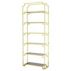 Eichholtz Delmar Hollywood Regency Gold Glass 6 Shelved Etagere
