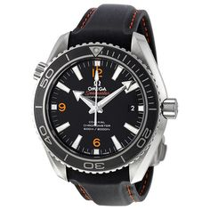 Omega Seamaster Planet Ocean Automatic Black Dial Leather Men's Watch