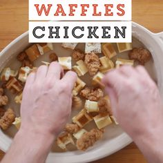 I gave my boyfriend such a hard time for wanting this for his birthday. It was super delicious! Don't let the mixture sit for an hour, it makes the waffles soft. Breakfast Bake, Breakfast Recipes, Breakfast Casserole, Making Fried Chicken, Tasty, Yummy Food, Fun Food, Chicken And Waffles, I Love Food