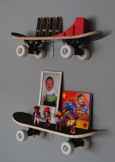 love this!!! for a boys room or girl! jaycen would love this! snowboards too maybe? Cool idea for repurposing unused skateboards