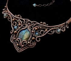 Labradorite Choker Necklace - Copper Gemstone Necklaces - Wire Wrapped - Statement Necklaces - Fantasy Jewelry - Victorian Gothic