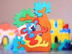Wooden Koala bear Puzzle, Child's Puzzle, Kid's wood Toys. Wooden toys, wooden animal puzzle. eco-friendly handmade toys, children
