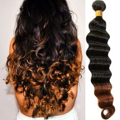 High Quality Real Human Hair Extension Ombre Brazilian deep wave Hot Sale Wefts #WIGISShair #deepwave