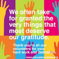 We appreciate all our volunteers. Thank you.