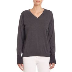 Brunello Cucinelli Cotton V-Neck Pullover ($1,360) ❤ liked on Polyvore featuring tops, sweaters, apparel & accessories, volcano, cotton pullover sweater, drop shoulder sweater, long sleeve pullover, v neck sweater and long sleeve pullover sweater