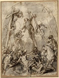 """Christ nailed to the Cross; soldiers holding Christ in the foreground, about to nail him to the Cross, two officers on horseback giving orders at r, one with a banner, the two thieves hanging on tall crosses behind, a man on a ladder propped against one, another figure pointing to a page inscribed """"INRI"""", arched. c.1627-32 Pen and brown ink, with brown and grey wash, over touches of black chalk"""