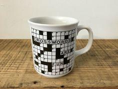 Vintage Crossword Puzzle Coffee Mug Cup Crosswords Are Fun #Unbranded