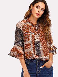 Geo Print Tie Neck Fluted Sleeve Blouse