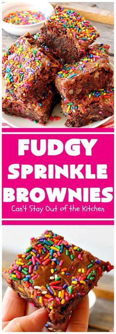 Fudgy Sprinkle Brownies-- Check out the quick icing included in this.