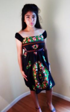 Mexican dress embroidered  dress  off the by stilettoRANCH on Etsy