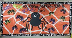My Halloween bulletin board. The big spider I made out of posterboard and the little spiders are made from my students' handprints :) Toddler Bulletin Boards, October Bulletin Boards, Elementary Bulletin Boards, Kindergarten Bulletin Boards, Preschool Bulletin Boards, Bullentin Boards, Elementary Library, Halloween Classroom Door, Halloween Bulletin Boards