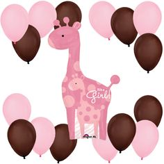 http://www.babyshowerstuff.com/giraffegirl-babyshower-theme.html Safari Baby Girl Giraffe - Balloon Kit for Baby Showers