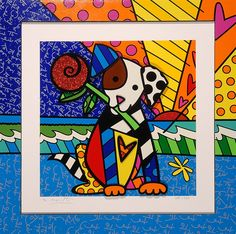 """""""Lovely"""" Dog holding rose by Romero Britto - Park West Gallery"""
