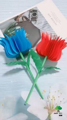 Paper Flowers Craft, Paper Crafts Origami, Flower Crafts, Diy Paper, Diy Crafts For Girls, Diy Arts And Crafts, Diy Crafts Videos, Easy Crafts, Paper Crafts Magazine