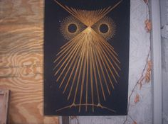 Retro Vintage Owl String Art  Wall Decor Black Velvet  Peace Love  Hippie Mod AWESOME. $74.00, via Etsy.