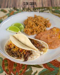 Salsa Verde Beef Tacos {Slow Cooker} | Plain Chicken