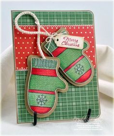 Debbie Olson shares a cool technique to using blending medium and an old sweater to create a knit pattern on thes JustRite Mittens! Chrismas Cards, Christmas Cards To Make, Christmas Tag, Xmas Cards, Handmade Christmas, Holiday Cards, Winter Christmas, Scrapbooking, Scrapbook Cards
