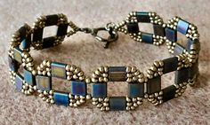 Linda's Crafty Inspirations: Bracelet of the Day: Coin Bands - Metallic Blue