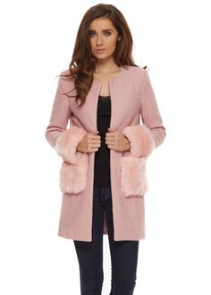 Vera & Lucy Pink Fluffy Faux Fur Fleece Lined Long Gilet ...