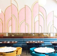 Art Deco, pink and gold wall at Oretta