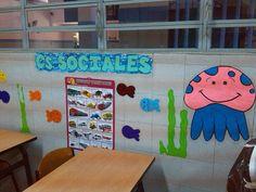 area en papel pintado primaria, decoracion de aula
