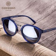 8059daae49e Buy Classic Mirrored lens Retro Round Polarized Sunglasses - Colossein  Sunglasses Official