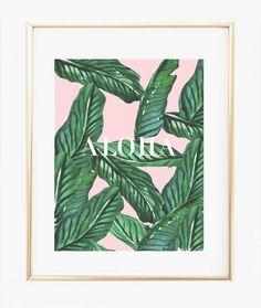 Palm Leaf Aloha #Print   https://bymaria.com/