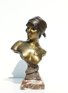 Emannuel Villanis (1858 -1914) - 'Fille de Bohéme', Bronze buste of young girl - Catawiki