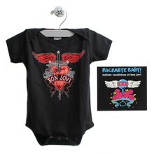 Bon Jovi Heart and Dagger Baby Bodysuit and Lullaby Rendition CD Set