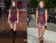 Nina Dobrev In Versace - Atelier Versace Fall 2014 Front Row. Re-tweet and favorite it here: https://twitter.com/MyFashBlog/status/485950118101671936/photo/1