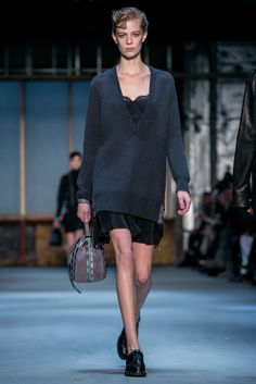 Chunky Sweater over black lace slip. A look from the Diesel Black Gold Fall 2015 RTW collection.