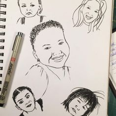 Finally back to work and putting in some practice time with a brush pen. Sketches Of People, Drawing Practice, Back To Work, Brush Pen, Inktober, Face, Anime, Human Sketch, Faces