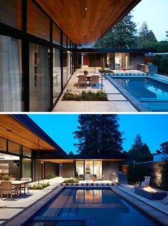 This Eichler inspired home has been designed in an L-shape that wraps around the pool.