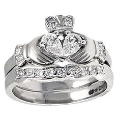 Irish Claddagh Rings Meaning? The tradiional Claddagh Celtic Symbols - heart for love, hands for friendship and crown for loyalty.    How to wear your Claddagh Ring.    Right hand with the heart pointing outwards = Fancy free  Right hand with the heart pointing inwards = Spoken for  Left hand with the heart pointing inwards = Found true love