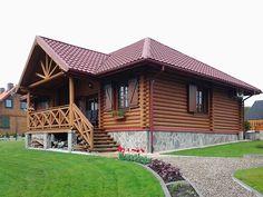 Projekt Borówka bal (83,07 m2). Realizacja projektu na pochyłym terenie. Pełna prezentacja projektu na stronie: https://www.domywstylu.pl/projekt-domu-borowka_bal.php. #borowka #domyzbala #projekty #projektgotowy #projekt #dom #domy #domywstylu #mtmstyl #architektura #architecture #design #housedesign #houseproject #realizacje #budowadomu