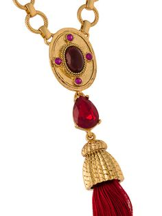 Shop Oscar de la Renta tassel pendant necklace.