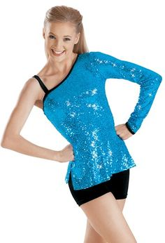 $32-$37 One Sleeve Sequin Performance Tunic | Balera™ Weismann's