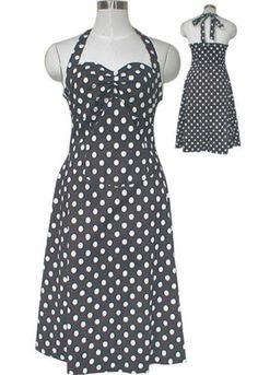 Plus Size Rockabilly Retro Black White Polka-Dot Halter Swing Dress 1X 2X 3X 4X #MysticCrypt #RockabillyRetro #Casual