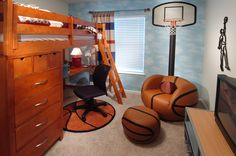 Interior Decorating Tips Using a Sports Theme for Your Family Room - Life ideas Boys Basketball Room, Basketball Couples, Street Basketball, Basketball Shirts, Bedroom Bed, Girls Bedroom, Interior Decorating Tips, Bedroom Themes, Bedroom Ideas