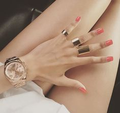 Gold Jewellery Chunky Multi Rings Watch Dope