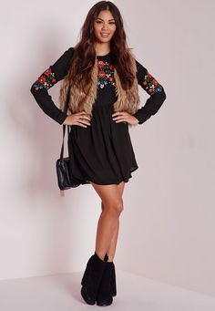 Long Sleeve Embroidered Front & Sleeve Dress Black - Dresses - Day Dresses - Mini Dresses