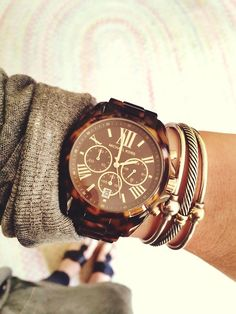 michael kors watch + david yurman cable bracelets