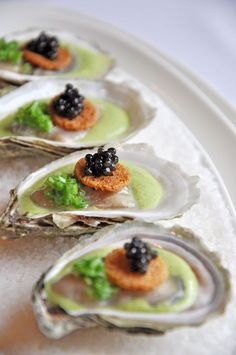 Huîtres & Caviar poached oysters, domestic caviar, leek velouté & toasted brioche by Chef Marc St. Caviar is a rich source of vitamins A and D, as well as fatty acids which some researchers say can aid in deterring depression. Tapas, Seafood Recipes, Gourmet Recipes, Gourmet Desserts, Detox Recipes, Oyster Recipes, Molecular Gastronomy, Food Presentation, Food Design