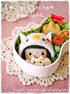 Kitty hooded girl bento