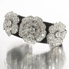 Cartier rare art deco black lacquer & diamond bangle, circa 1935