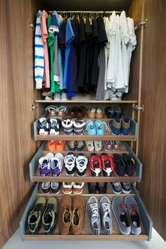 Sliding shoe shelves. This smart space saver can pack dozens of pairs of shoes into a relatively small space