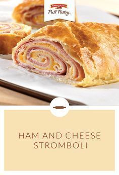 Pepperidge Farm Puff Pastry Ham & Cheese Stromboli Recipe. Cheesy appetizers always seem to be a crowd favorite. This recipe features ham, turkey and cheese layered in a flaky Puff Pastry roll. It's baked until the filling is hot and the cheese is melted. It couldn't be easier to make and is sure to be an Easter favorite. (It's also a great way to use Easter ham leftovers for a simple weeknight dinner.)