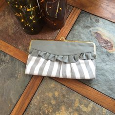 Ruffle wallet White and gray ruffle clutch/wallet DSW Bags Wallets