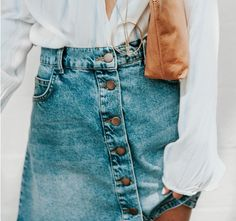 button front denim skirt ///