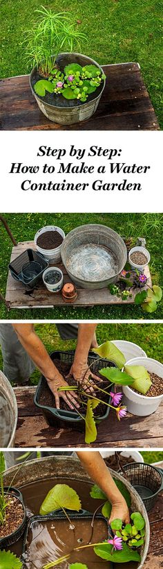 Create this simple pond-in-a-pot with our step by step instructions: http://www.midwestliving.com/garden/container/how-to-plant-a-water-container-garden/  #WaterGarden